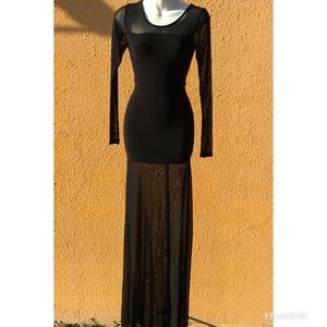 Symphony Black Long Mesh Dress